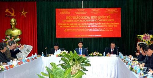 """Hội thảo khoa học quốc tế """"Tuyên ngôn của Đảng Cộng sản – Giá trị lý luận và thực tiễn trong thời đại ngày nay"""""""
