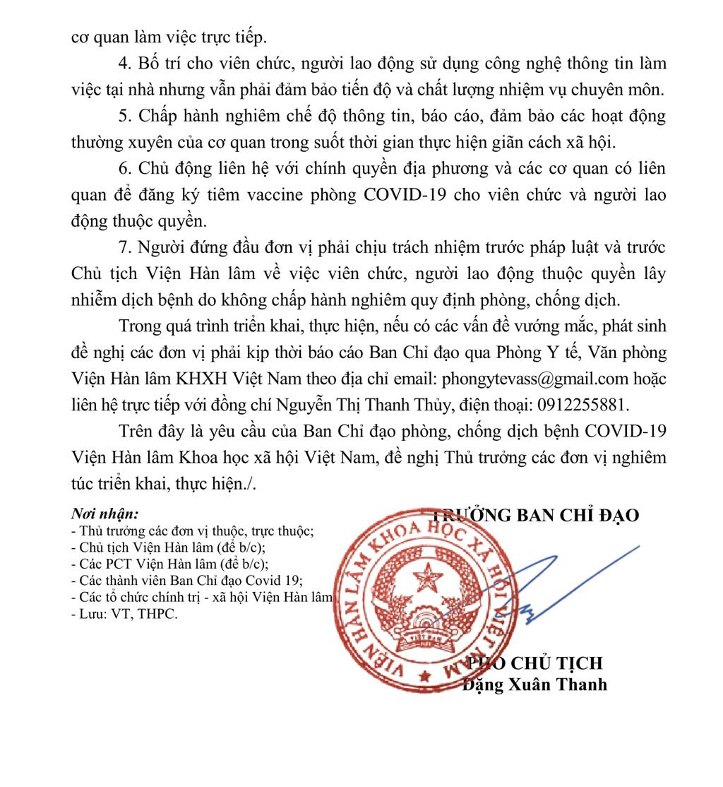 Thông báo của Viện Hàn lâm KHXH Việt Nam về việc tăng cường thực hiện nghiêm giãn cách xã hội để ngăn chặn dịch bệnh COVID-19